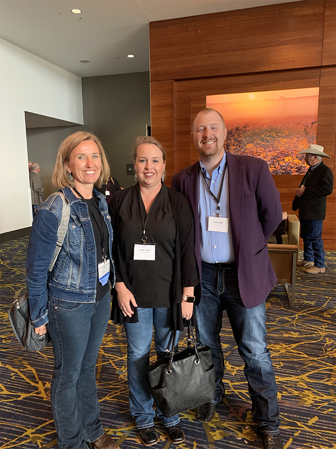 ASA staff member and BIF Board Member, Jackie Atkins, visits with Sarah Jones of Red Hill Farms, and ASA staffer, Lane Giess.